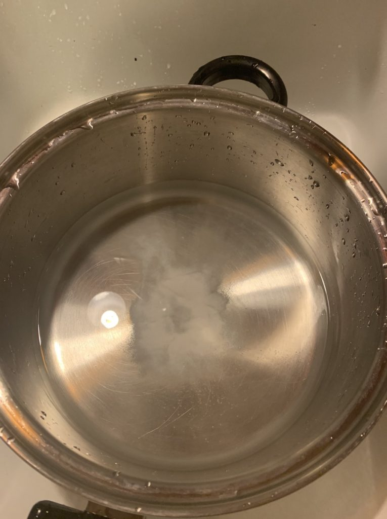 Product added to plain water in a bowl