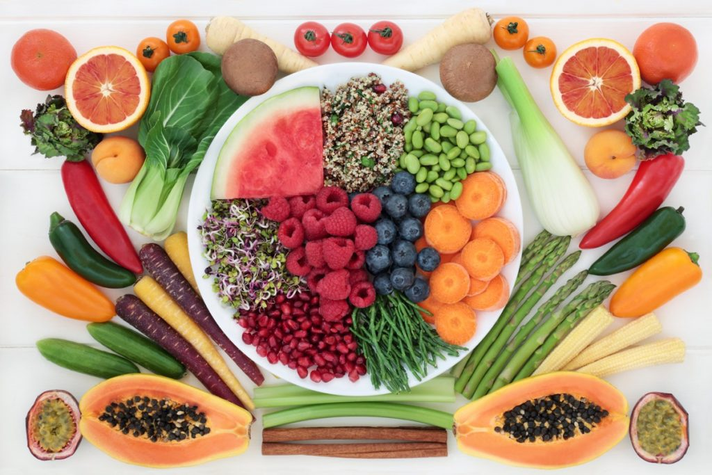 Healthy foods on a plate
