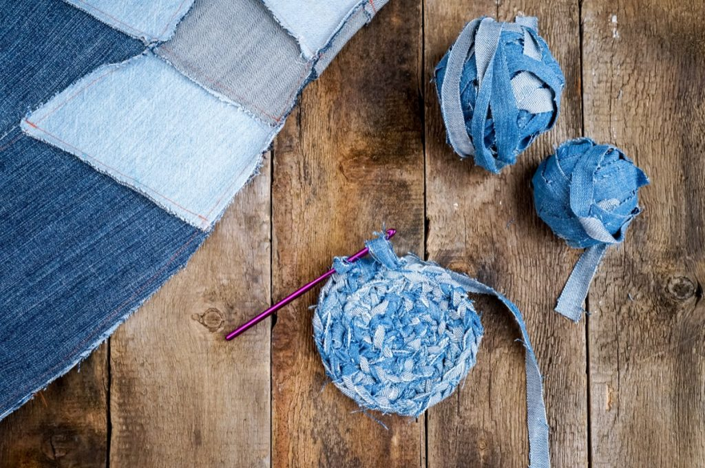 Knitting with jeans fabric. Repurpose concept
