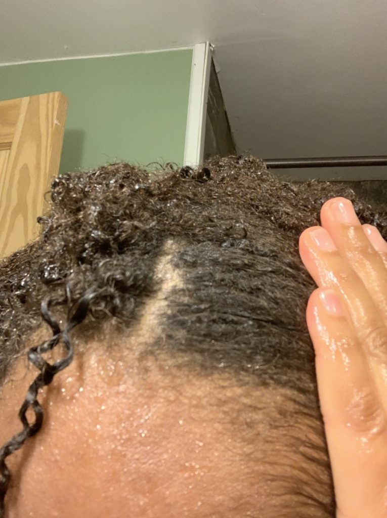 Hair after clay is rinsed